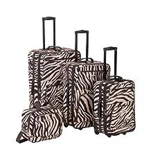 ROCKLAND Luggage 4-Piece Luggage Set, Brown Zebra, One Size