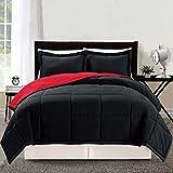 3 piece Luxury BURGUNDY RED / BLACK Reversible Goose Down Alternative Comforter set, Full / Queen Duvet Insert