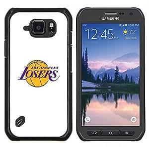 Caucho caso de Shell duro de la cubierta de accesorios de protección BY RAYDREAMMM - Samsung Galaxy S6Active Active G890A - Perdedores Angeles Equipo de baloncesto divertido
