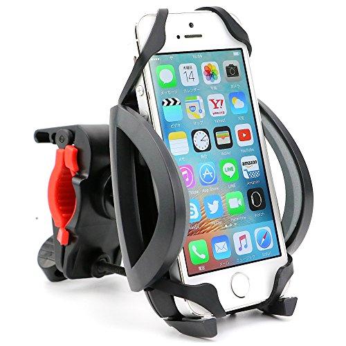 adelphos がっちりホールド 自転車 ロードバイク クロスバイク マウンテンバイク マウント ホルダー 360度回転 各種 スマホ iPhone 対応 (グレー)