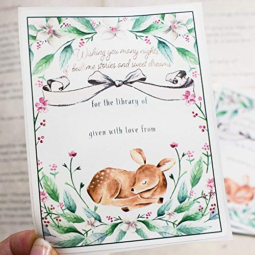 Deer Bookplates for Baby Girl Personalized Self Adhesive Stickers Custom Labels for Childrens