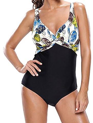 PEGGYNCO Women's Stylish Twist Print Cami One-piece Swimsuit - Denim Pinstripe Cap