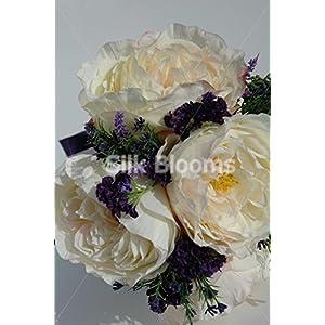 Stunning Ivory Rose Cascading Bridal Bouquet w/ Heather & Allium 2