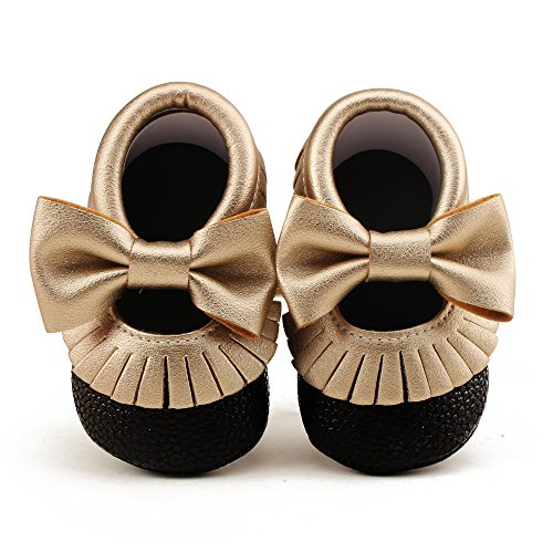Delebao Infant Toddler Baby Soft Sole Tassel Bowknot Moccasinss Crib Shoes (0-6 Months, Black & Gold)