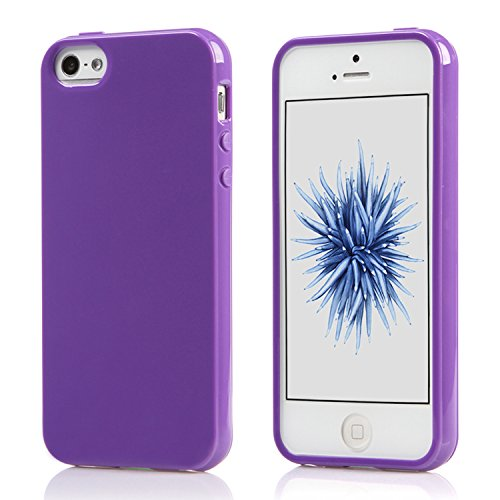 iPhone SE Case or iPhone 5S Case,Ultra Slim Silicone TPU Cover and Gloss Gel Flexible Soft bumper (Purple)