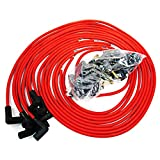 taylor spark plug wires 9mm - 9.5 mm Red 90 Degree Spark Plug Wires For Distributor Chevy BBC SBC SBF 302 350 454