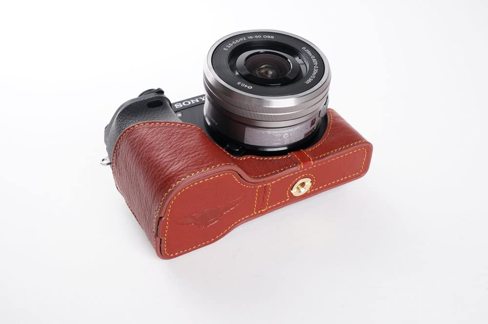 Handmade Genuine Real Leather Full Camera Case Bag Cover for Sony A6300 with 16-50mm Lens Bottom Open Brown color