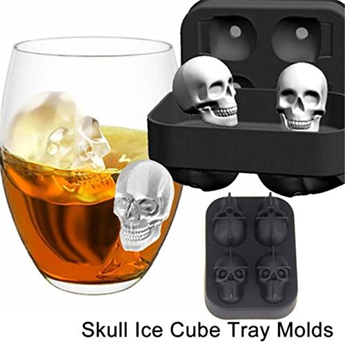 Rurah Silicone Skull Ice Molds Ice Cube Maker Whiskey Cocktails Halloween Party Spooky Fun Bar Tool