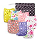 Baby Girl Cloth Pocket or Cover Diapers (7 Pack) with 7 Bamboo Inserts and 1 Wet Bag in Modern Patterns by Nora's Nursery