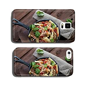 Pasta alla Norma over rustic wooden background, high angle view cell phone cover case Samsung S6