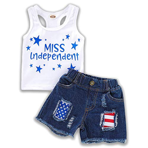 (YOUNGER TREE 2PCS Toddler Boys Summer T-Shirt and Denim Shorts Outfits Suit Pant Sets Clothes (4-5T, Independence)