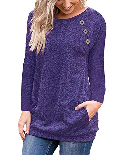 Striped Open Shirt Neck (Purple Women's Casual Long Sleeve Button T-Shirt Tunic Top Solid Blouse Pockets)
