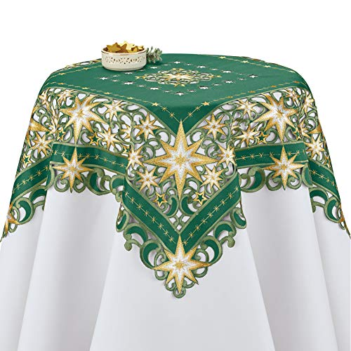 Collections Etc Exquisite Stars Table Topper Linens Green Square, Green, Square