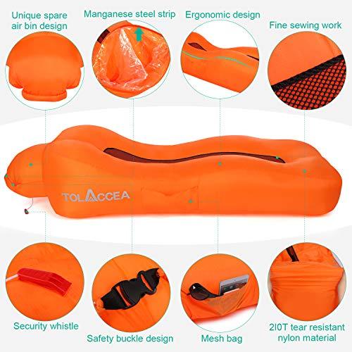 Tolaccea, divano gonfiabile, impermeabile, divano gonfiabile, sdraio gonfiabile, pouf gonfiabile portatile, con borsa per il trasporto, ideale per campeggio, spiaggia, outdoor