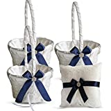 Roman Store Ivory Ring Bearer Pillow and Basket Set   Lace Collection   Flower Girl & Welcome Basket for Guest   Handmade Wedding Baskets & Pillows (Navy Blue)