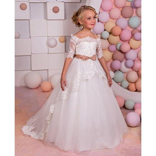 b349c12204d Charm4you Robe de Cérémonie Mariage Fille Enfant Dentelle Longue Manches  Courtes Epaules Dénudées ...