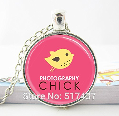 Pretty Lee Fashion Necklaces For Women 2015 Photography Chick Camera Jewelry For Photographers Pink And Yellow Art Glass Dome Necklace (Becks Chick)