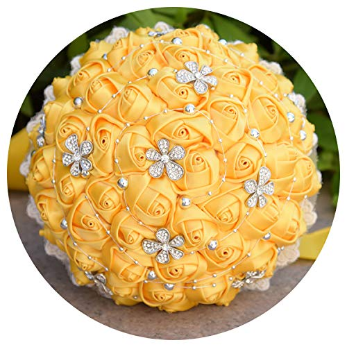 Bridal Wedding Bouquet, 14 Optional Colors Vintage Plum Wedding Flowers Satin Roses Bridal Bouquets Lace Brooch Bouquet with Silver Beads,Yellow