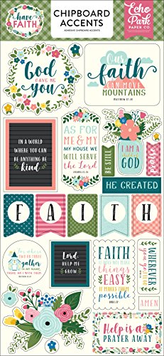 Echo Park Paper Company HAF152021 Have Have Faith 6x13 Chipboard Accents, Purple, Pink, Mint Green, Teal, Coral