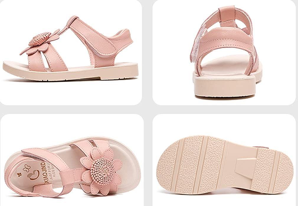 VECJUNIA Girls Floral Sandals T-Strap Open Toe Casual Flat Sandal Shoes