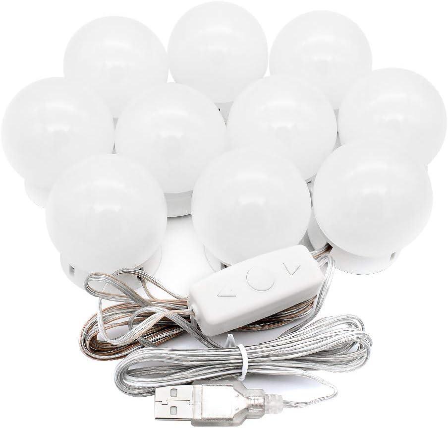 10 Bulbs + Remote Control + 3m Tape Yuhtech LED-Make-up-Leuchten im Hollywood-Stil mit 10 dimmbaren Gl/ühlampen f/ür Make-up-Frisierkommode mit einstellbarer Helligkeit in 10 Stufen