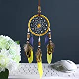 Karleksliv yellow and blue feather small circlel Decorative Dream Catchers car decor diameter: 2.75''; Whole Length:11.81'' XM042