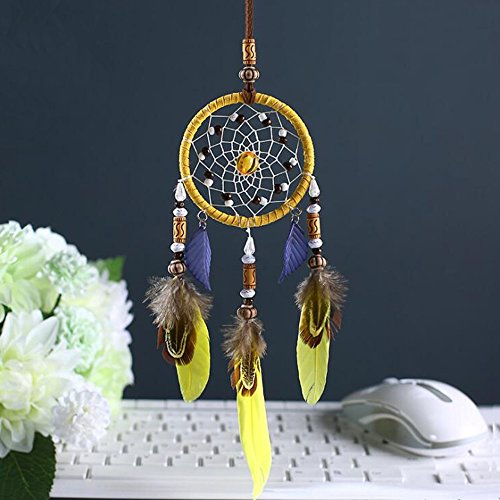 "Karleksliv yellow and blue feather small circlel Decorative Dream Catchers car decor diameter: 2.75""; Whole Length:11.81"" XM042"