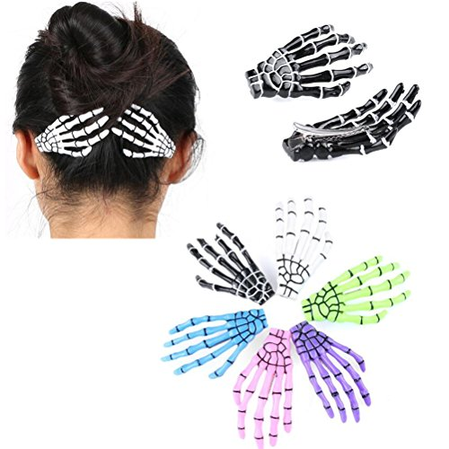 Spooky Halloween Clips (Cuhair 10pcs Fashion Hair Accessories Skeleton Claws Skull Hand Hair Clip Hairpin Zombie Punk Horror Bobby claw Barrette For Women)