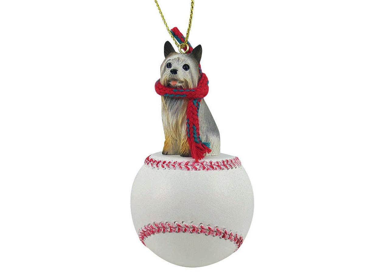 Conversation Concepts: Silky Terrier Baseball Sports Fan, Christmas Tree Ornament, Gift, Holiday Home Décor, Festive Figurine