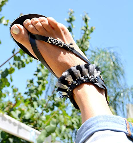 Women's Leather Sandals, Boho Hippie Bohemian Style Unique Black Sandals Decorated with Beads & Tassels, Size 5-14.5 US, Handmade Shoes ()