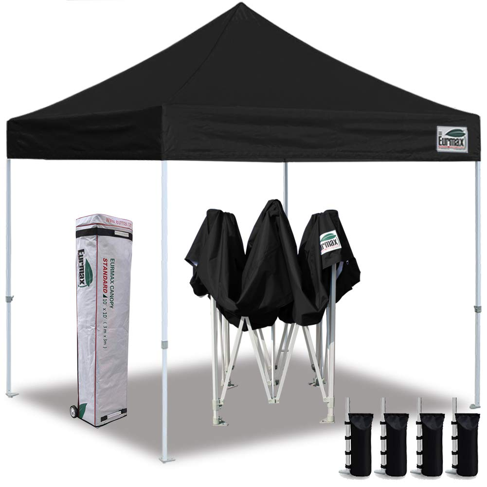 Eurmax 10 x10 Ez Pop Up Canopy Tent Commercial Instant Canopies with Heavy Duty Roller Bag,Bonus 4 Sand Weights Bags Pure Black