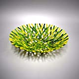 Branch Sea Coral Fused Glass Art Fruit Bowl in Bright Green and Yellow