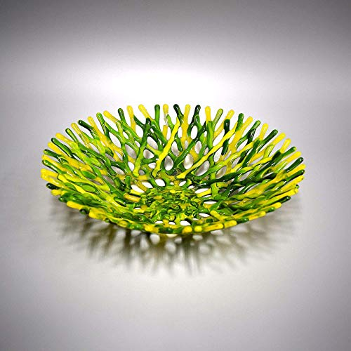 (Branch Sea Coral Fused Glass Art Fruit Bowl in Bright Green and Yellow)