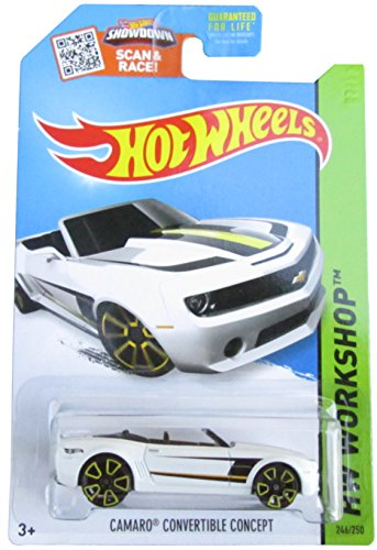 Car Camaro Concept (Hot Wheels, 2015 HW Workshop, Camaro Convertible Concept [White] Die-Cast Vehicle #246/250)