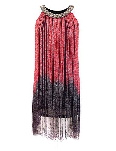 KAYAMIYA Women's 1920s Gatsby Tassel Draping Fringe Flapper Costume Dress XS/S Red