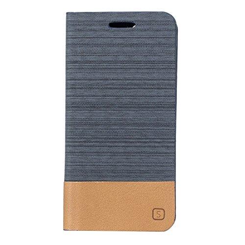 Protege tu iPhone, Para el iPhone 7 más patrón de la lona PU + TPU horizontal Flip caja de cuero con el titular y ranuras para tarjetas Para el teléfono celular de Iphone. ( Color : Gris ) Negro