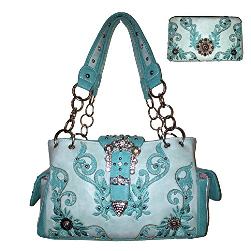 New Style Rhinestone Buckle Concho Concealed Carry Embroidered Leather Shoulder Handbag Purse,matching (New Western Rhinestone Concho)