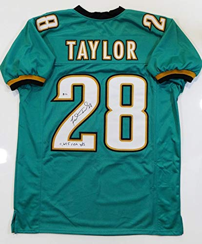 the best attitude ebf4c c1a54 Signed Fred Taylor Jersey - Teal Pro Style w Rush Yds ...