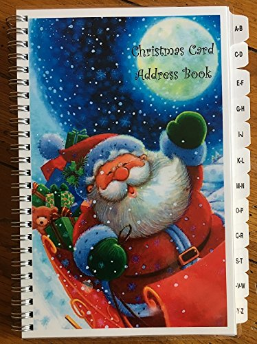 Christmas Card Address Book List Organizer with A-Z Tabs Santa Personalized (Christmas Card List Book)