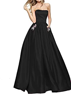 BBCbridal Women s Strapless Beaded Prom Dresses Long A Line Satin Evening  Dress Party Gowns with Pockets c27950d65