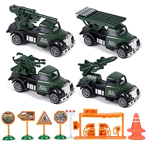 (Kikioo 4 Cars 1 Set Die-cast Metal Playset Toy Air Defense Gunfire Alloy Car Models Toy Military Tank Jeep Truck Armored Pull Back Vehicles for Toddlers Children Boys Girls Fun Time)