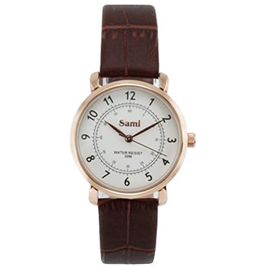 Sami - Reloj de pulsera para mujer con correa de piel: Amazon.es: Relojes