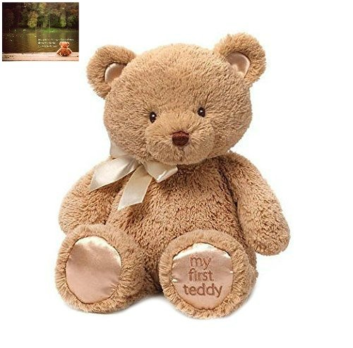 Enesco Teddy Bear - Gund My First Teddy Bear Stuffed Animal, 15 inches and Premium Greeting Card by Kimberly Anderson Collection - Bundle 2 Items