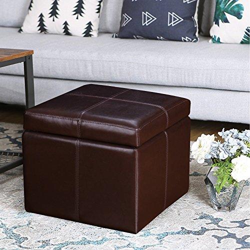 DecentHome Rectangular Storage Bench Ottoman (Brown) - Medium Brown Leather Ottoman