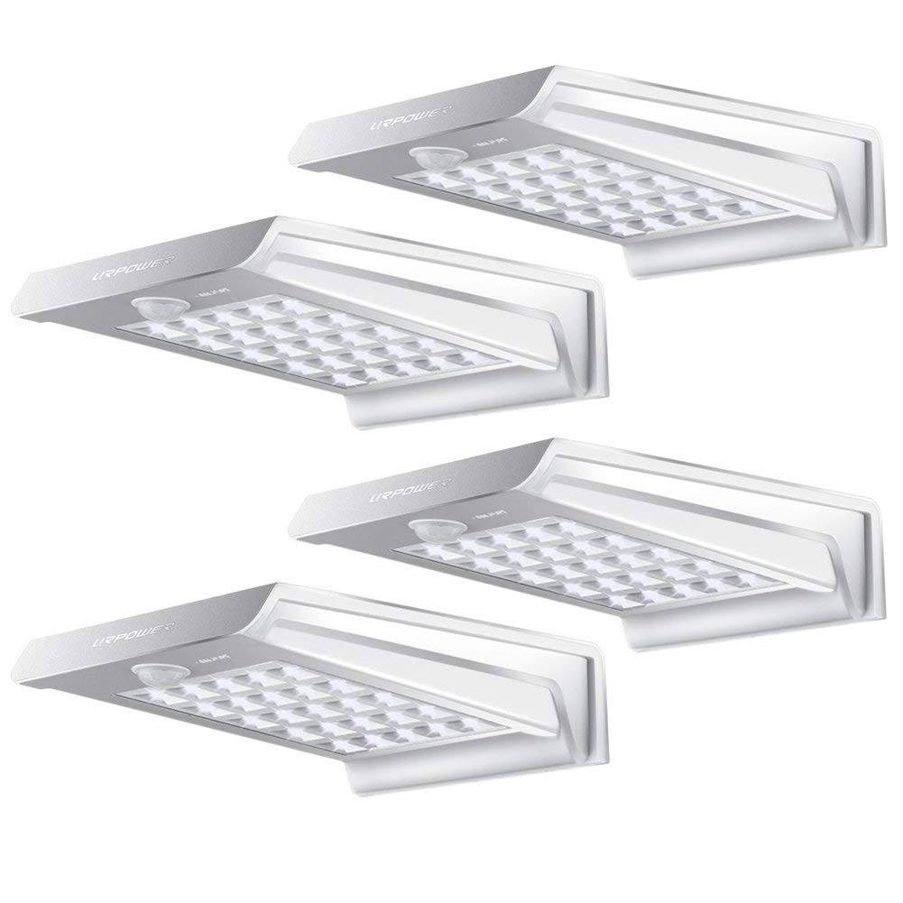 4Pack Solar Lights,URPOWER 20 LED Outdoor Solar Motion Sensor Lights,Solar Powered Wireless Waterproof Exterior Security Wall Light for Patio,Deck,Yard,Garden,Path,Home,Driveway,Stairs,NO DIM MODE