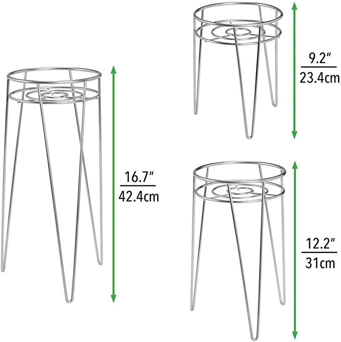 Soportes met/álicos redondos de moderno dise/ño industrial mDesign Juego de 3 portamacetas de estilo mediados de siglo de metal plateado Vers/átiles maceteros de metal para interiores y exteriores
