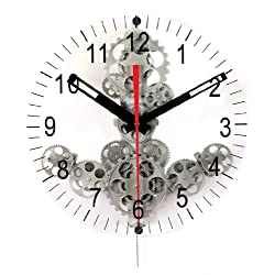 Maple's Moving Gear Wall Clock, Silver