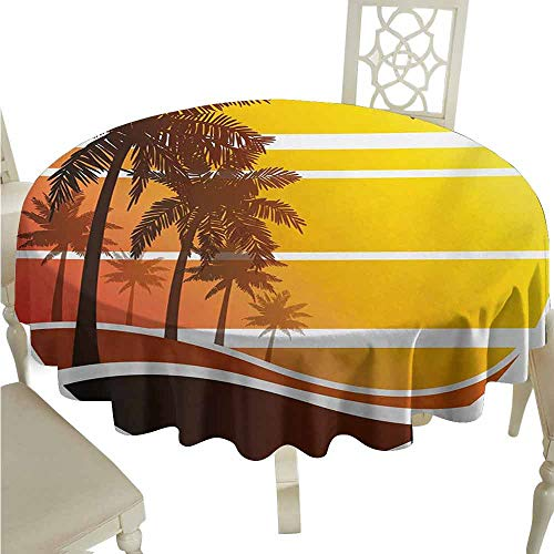 - duommhome Tropical Durable Tablecloth Sunset at Exotic Beach with Palm Trees Birds Summer Vacation Label Style Easy Care D35 Yellow Coral Brown
