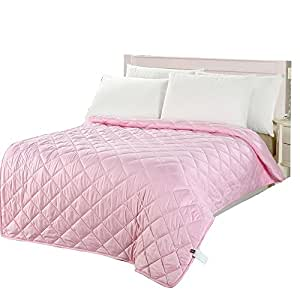 naturety thin comforter for summer light weight filled quilt full queen pink. Black Bedroom Furniture Sets. Home Design Ideas