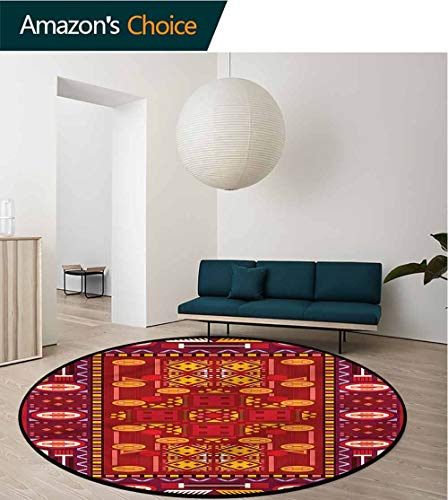 RUGSMAT Afghan Non-Slip Area Rug Pad Round,Middle Eastern Design Baby Room Decor Round Carpets Diameter-47 ()